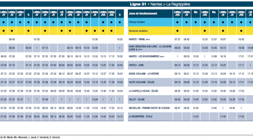 Horaires Lila HG