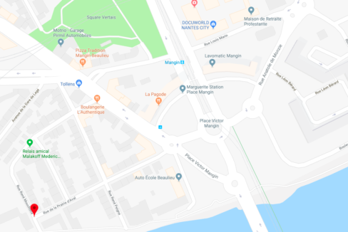 Plan quartier Nantes Mangin, appartement T3 avec locataire