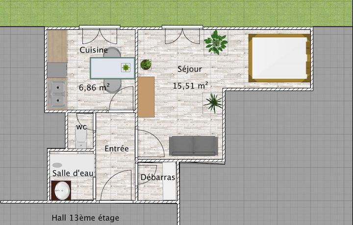 Plan T1bis Nantes Le Vulcain