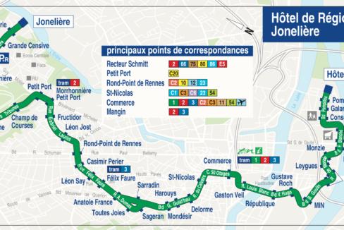 Plan TAN Ligne 26 Hôtel de région -> Jonelière