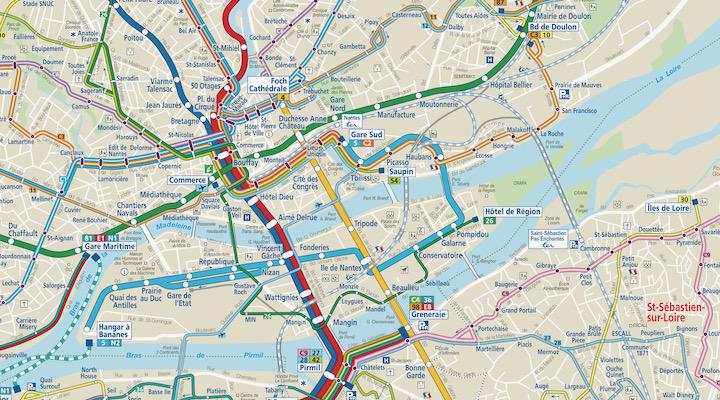 Plan transports TAN Nantes-Saint Sébastien sur Loire