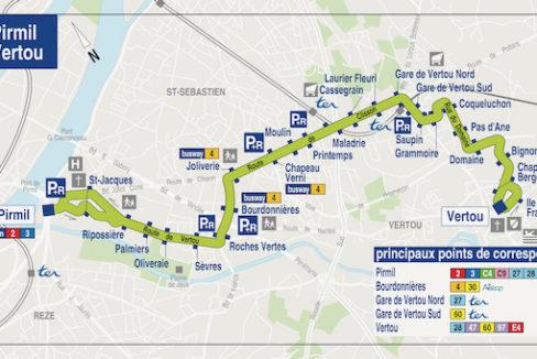 V122-Plan TAN ligne 42 - Nantes Vertou