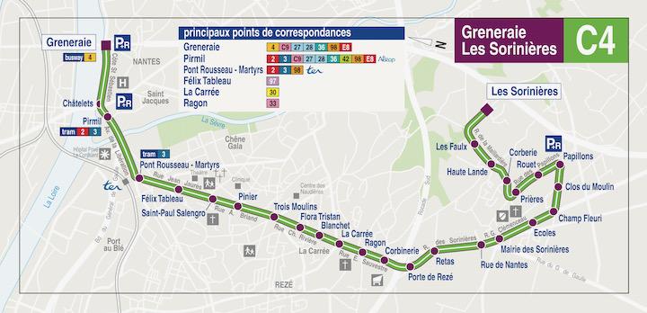 Plan TAN ligne C4 - La Gréneraie Les Sorinières