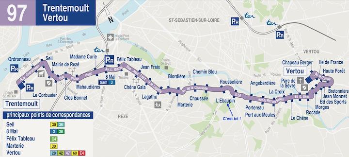 Plan bus ligne TAN n°97